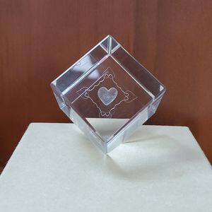 Etched Crystal Glass Heart Paperweight
